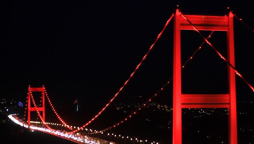 Fatih Sultan Mehmet Bridge. Smooth flowing, heavy traffic during rush hour on the bridge