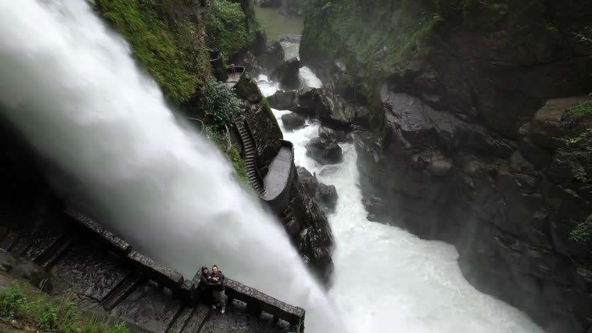 Pailon Del Diablo Or Devils Cauldron Waterfall In Ecuador, Tourists Snapping Travel Pictures  - 4K stock video clip