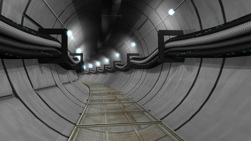 Underground cables, gas, utility tunnel - 4K stock footage clip