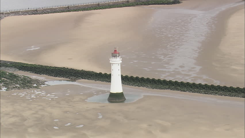 AERIAL United Kingdom-Round New Brighton Lighthouse 2007 - HD stock video clip