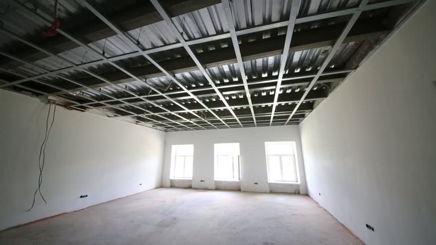 Indoor view of room with suspended ceiling in building - HD stock footage clip