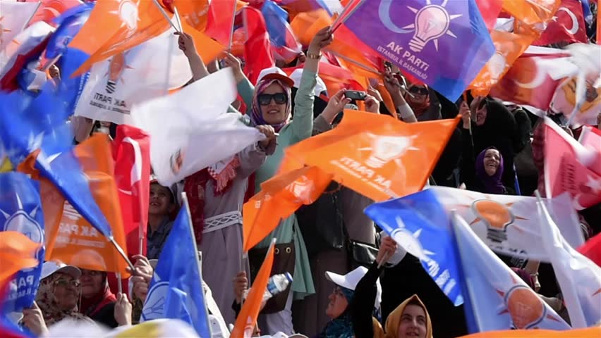 ISTANBUL - MAY  17: AK Party (AKP) meeting. before general elections. on May 17, 2015 Istanbul, Turkey. | Shutterstock HD Video #10100369