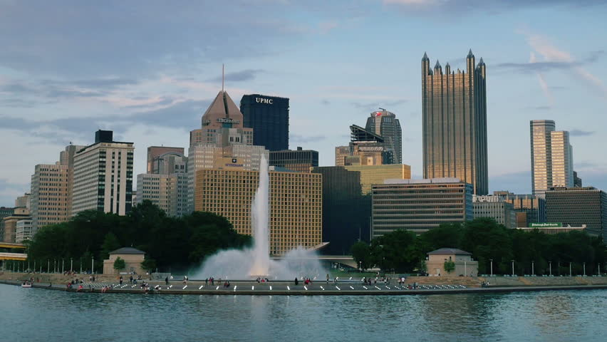 PITTSBURGH, PA - Circa May, 2015 - An evening establishing shot of the iconic fountain at The Point in downtown Pittsburgh, PA. | Shutterstock HD Video #10146134