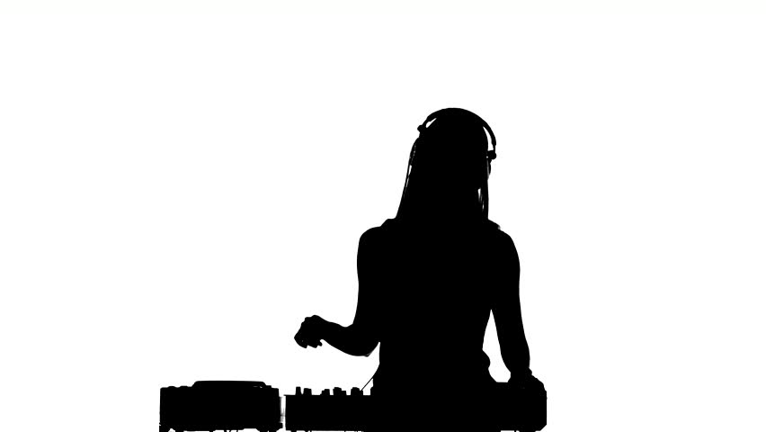 Young, sexy, attractive dj girl in sexy clothes, flipping hair, enjoy it, using headphones, silhouette, on white background | Shutterstock HD Video #10148555
