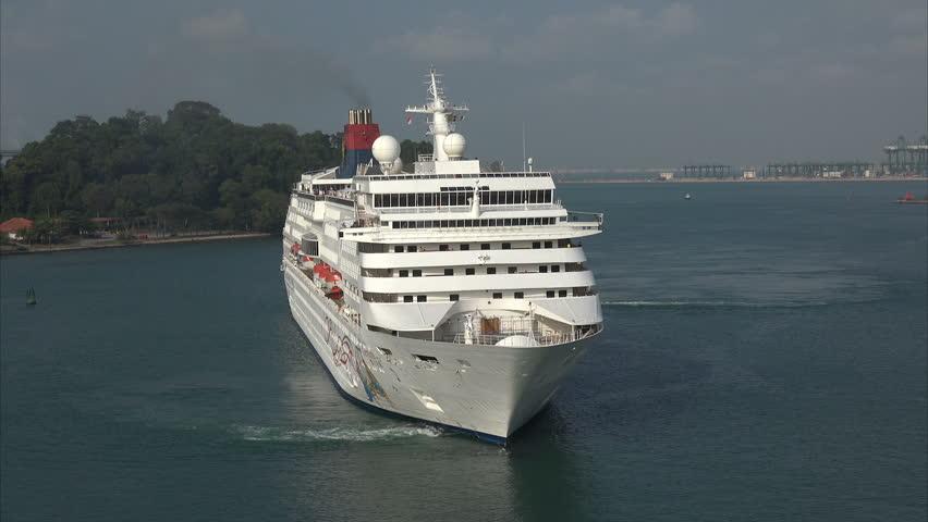 Singapore Cruise Ship Leaving Stock Footage Video 4582208
