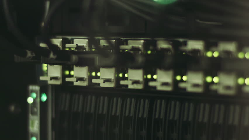 Fully loaded network media converters and ethernet switches, Lights on network server (Hd, seamless loop, 1920x1080, 1080p, high definition)