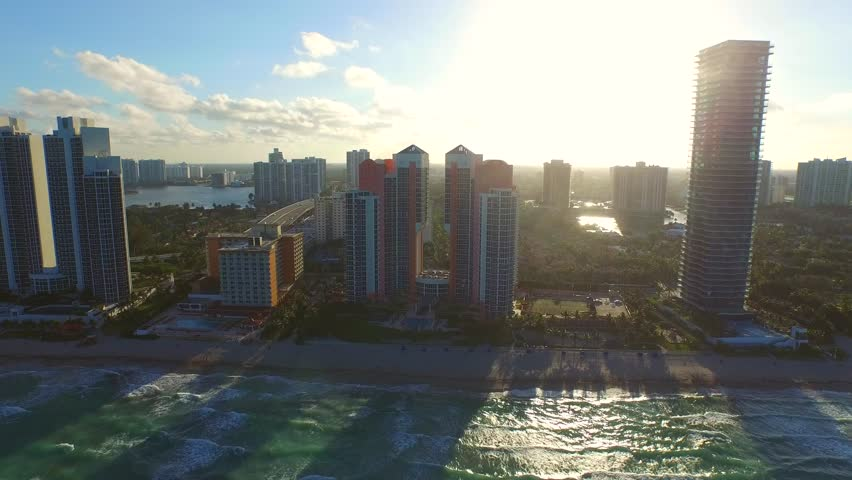 Aerial oceanfront architecture Sunny Isles Beach FL 4k | Shutterstock HD Video #10176581