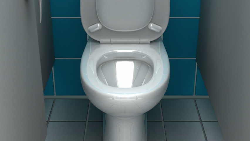 Diving into the toilet. 3D animation, green screen.