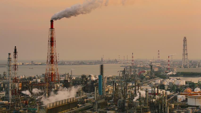 Factories in Yokkaichi, Japan. - HD stock video clip