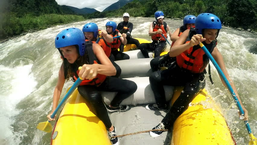 Group of adult women's screaming and yelling while whitewater rafting, model released clip with audio - HD stock footage clip