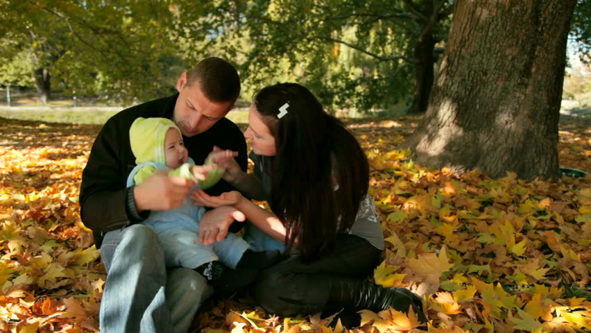 happy family in the park - HD stock footage clip