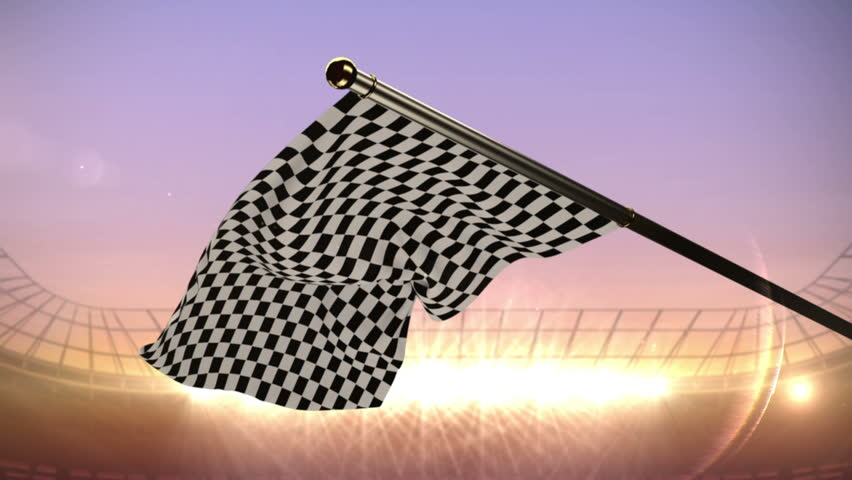 Digital animation of Checkered flag waving in arena | Shutterstock HD Video #10328852