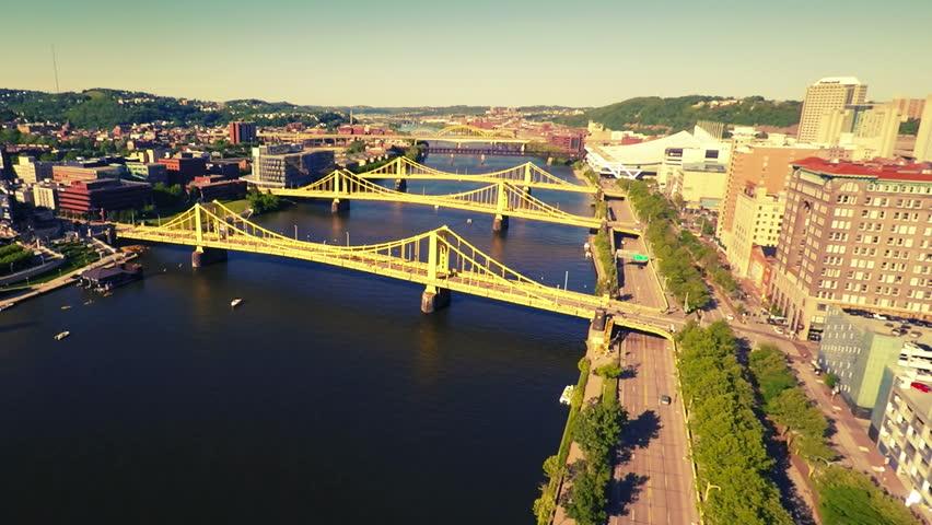 Pittsburgh bridges - HD stock video clip