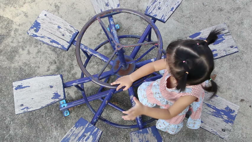 A little asian girl on the playground, Bangkok Thailand  - HD stock video clip