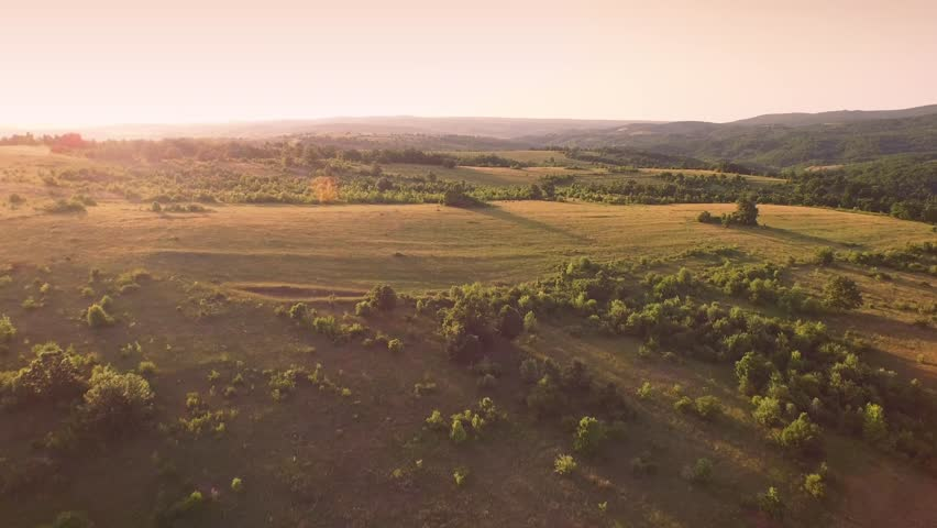 Aerial Flight Over Fly Tuscany Fields Trees Beauty Nature Sky Farm Agriculture UHD 4K