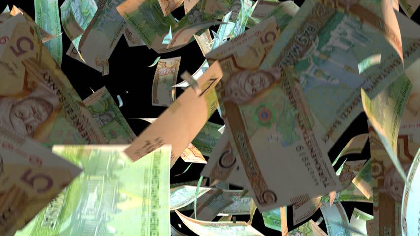Falling Turkmenistan money banknotes  Video Effect simulates Falling Mixed Turkmenistan money banknotes with alpha channel (transparent background) in 4k resolution