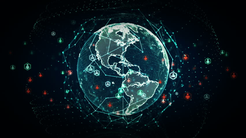 A stylized rendering of the earth conveying the modern digital age and its emphasis on global connectivity among people. This clip is available in multiple other color options and loops seamlessly.