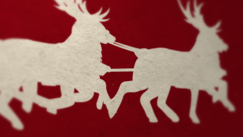 Santa with reindeer and MERRY CHRISTMAS letters