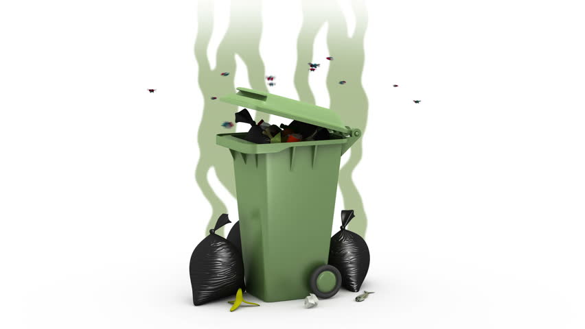 Smelly Garbage Bin And Garbage Bags. 3D Animation. Green Screen ...
