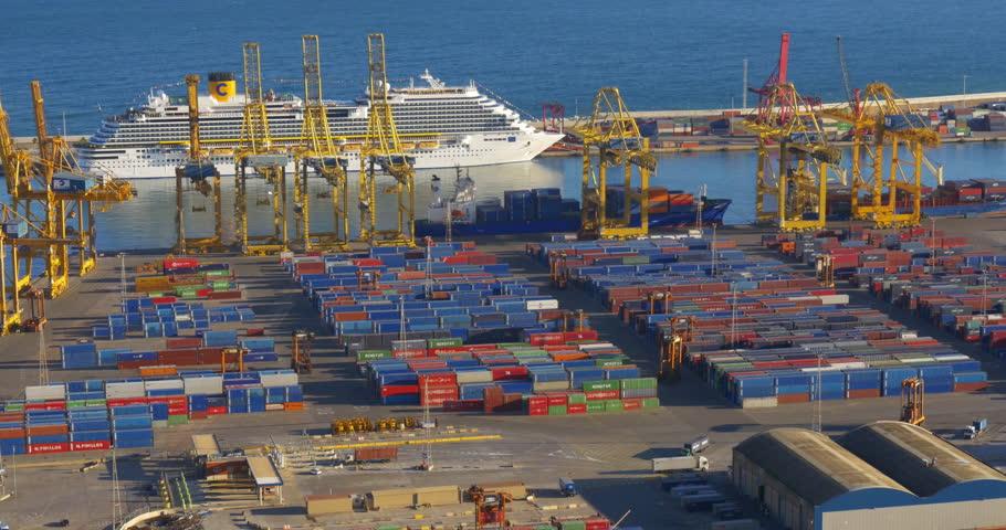 BARCELONA, SPAIN - JANUARY 2015: day light city cargo port work 4k circa january 2015 barcelona, spain. - 4K stock video clip
