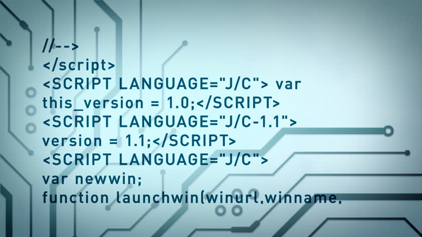 Computer code scrolls over a background of computer circuitry. All clips are available in multiple color options and loop seamlessly.