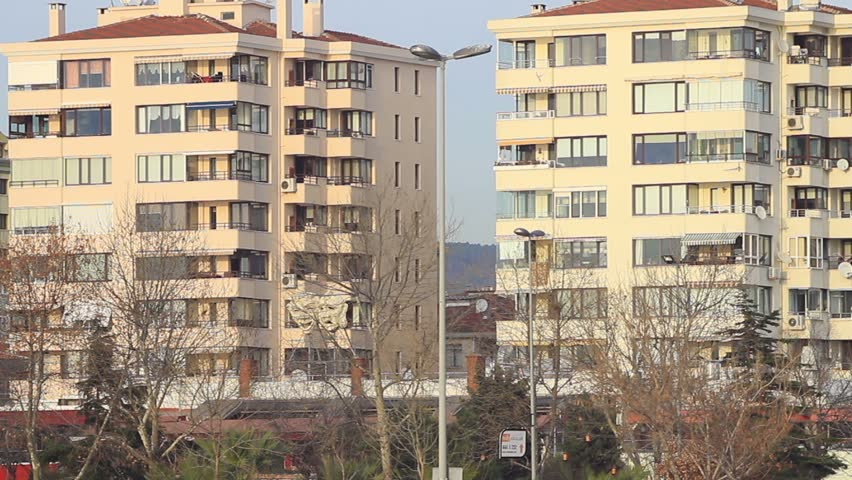 Typical irregular suburban architecture with lined up buildings. Turkey sits on a vulnerable fault line and most buildings in country still fail to meet basic safety standards against an earthquake.