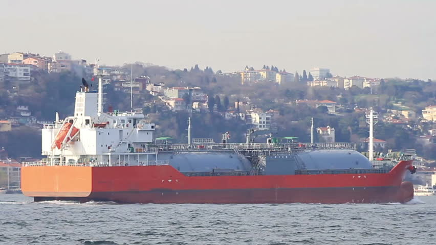 LPG tanker ship heading up strait in Bosporus waters, Istanbul. Some 50,000 ships pass through the Turkish Straits every year. Tanker ship designed for liquefied petroleum gas transportation. Tracking