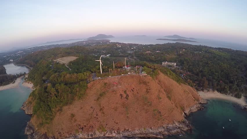 Aerial video sunset view point near PromThep cape Phuket, Thailand | Shutterstock HD Video #10569377