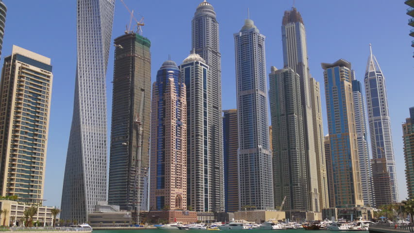 Day light dubai marina famous buildings panorama 4k uae for Famous structures in dubai