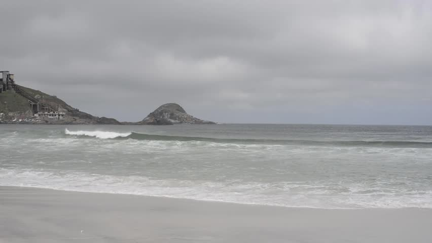 Cloudy Day at the Beach - Arraial do Cabo, Rio de Janeiro, Brazil - HD stock footage clip