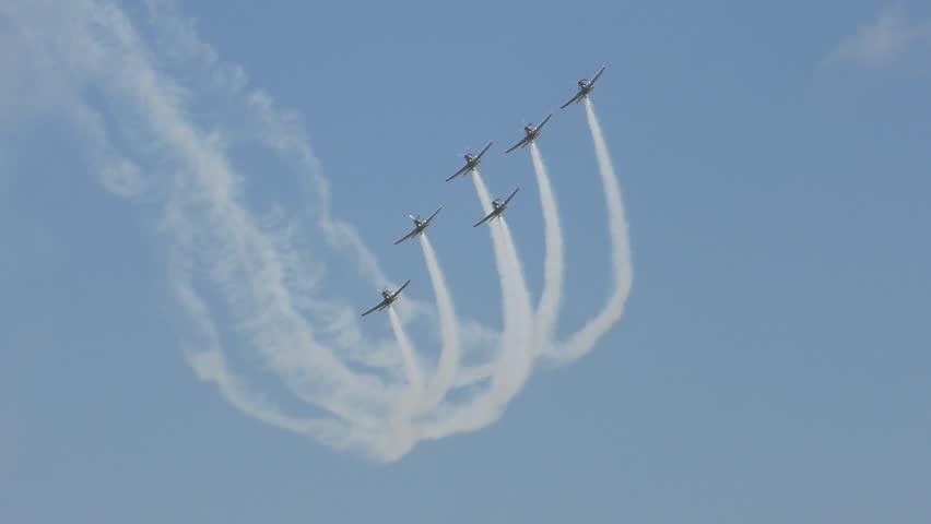 PRUSZCZ GDANSKI, POLAND - JUNE 13 2015: Aircrafts formation aerobatics