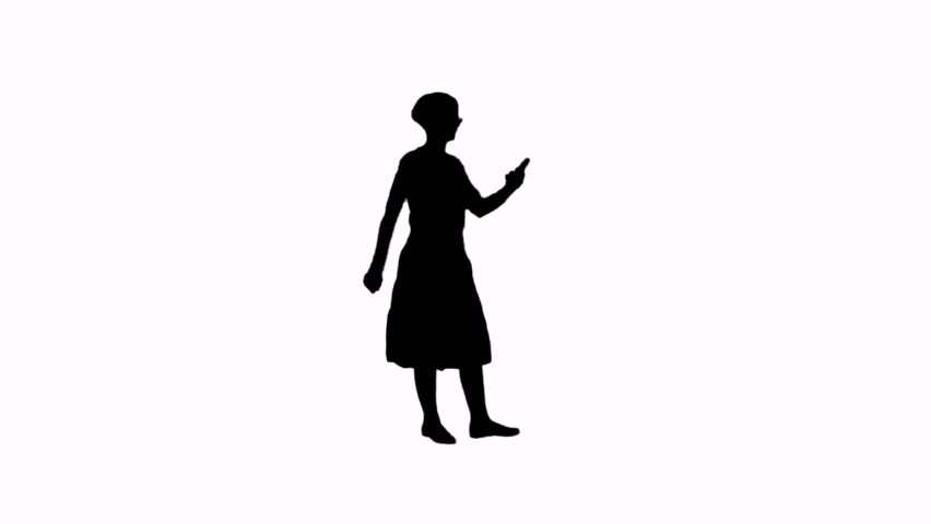 Video silhouette of a girl with a phone