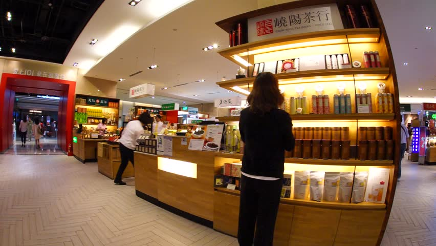 TAIPEI, TAIWAN - JUNE 8: East Taipei has many tea house in the large department stores. It is one of the best place to go and shop for the tea in Taipei, June 8, 2015, Taipei, Taiwan - HD stock video clip