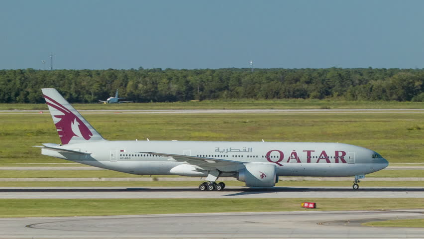 HOUSTON, TX - 2015: Qatar Airways Boeing 777-200 Commercial Passenger Airliner Close-up Shot Taxiing in Houston Texas at George Bush Intercontinental Airport IAH after International Flight from Qatar