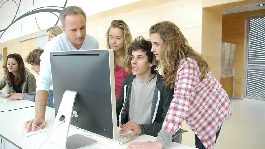 Students in computing class  - HD stock video clip