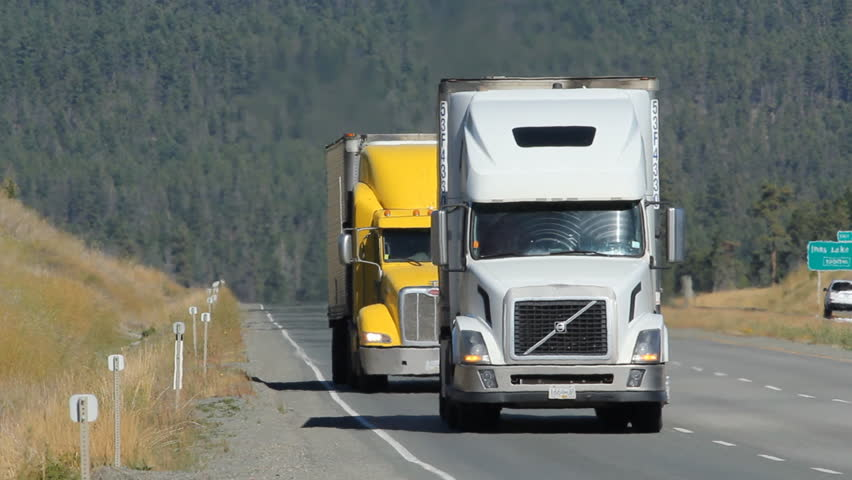BC, CANADA on SEPT 21st: Trucks on Highway 5 in BC, Canada. The portion of Highway 5 south of Kamloops is also known as the Coquihalla Highway.