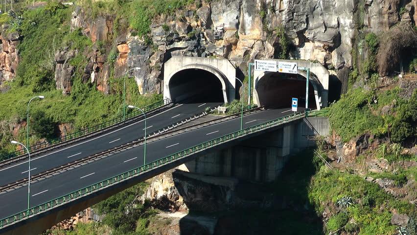 Funchal traffic - Via Rapida (Madeira island) - HD stock footage clip