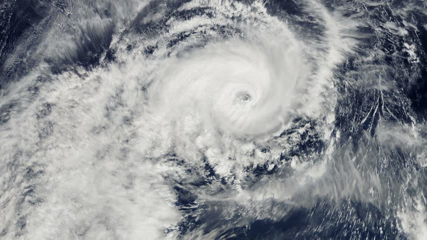 Hurricane storm, tornado, satellite view. Beautiful epic stunning views of the Hurricane from Outer Space. Nasa Time lapse.
