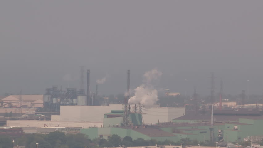 Smog and pollution cover Hamilton Ontario on hot summer day in July - HD stock footage clip