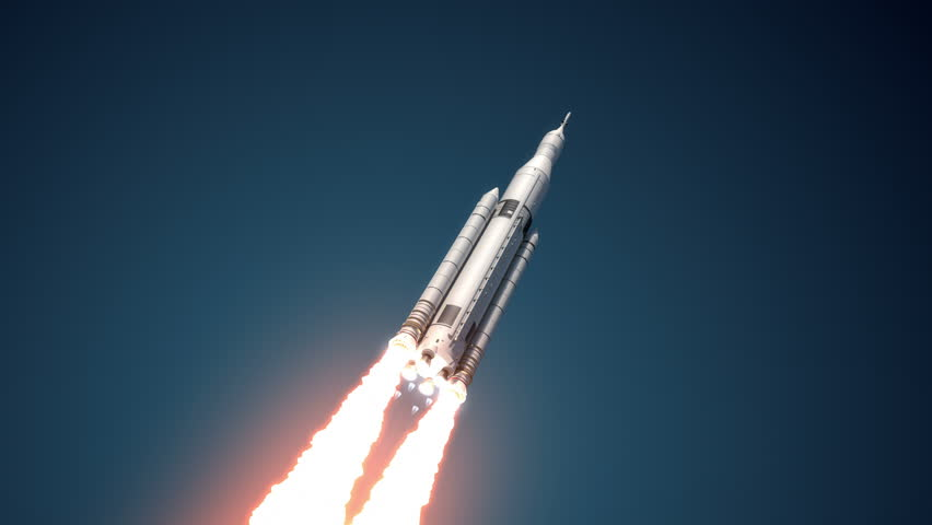Space Launch System Takes Off. 3D Animation. Ultra High Definition. 4K