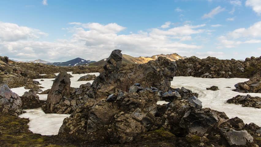 Landmannalaugar  Iceland, rugged volcanic glass rocks lava field landscape, dolly slider 4k