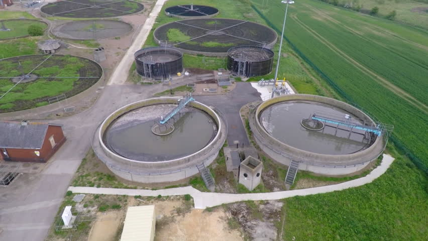 Barnsley England - May 21st  2015 : Aerial shot of waste water treatment works. - HD stock video clip