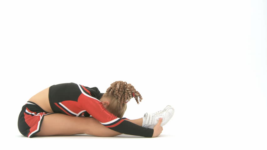 Cheerleader stretching her legs - HD stock footage clip