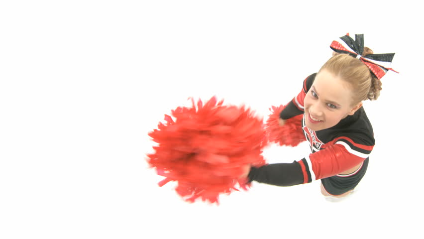 Cheerleader is dancing and looks up - HD stock video clip
