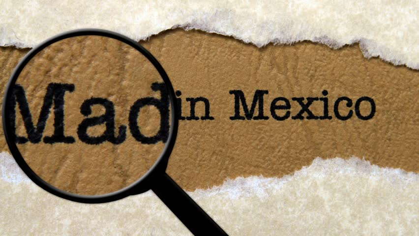 Magnifying glass on made in Mexico