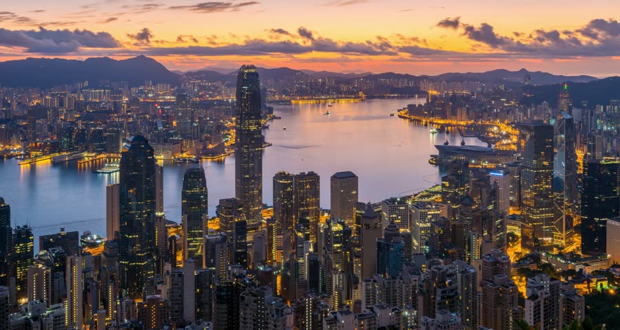 4K Day To Night Time-lapse of Hong Kong CityScape at Victoria Peak | Shutterstock HD Video #11153288