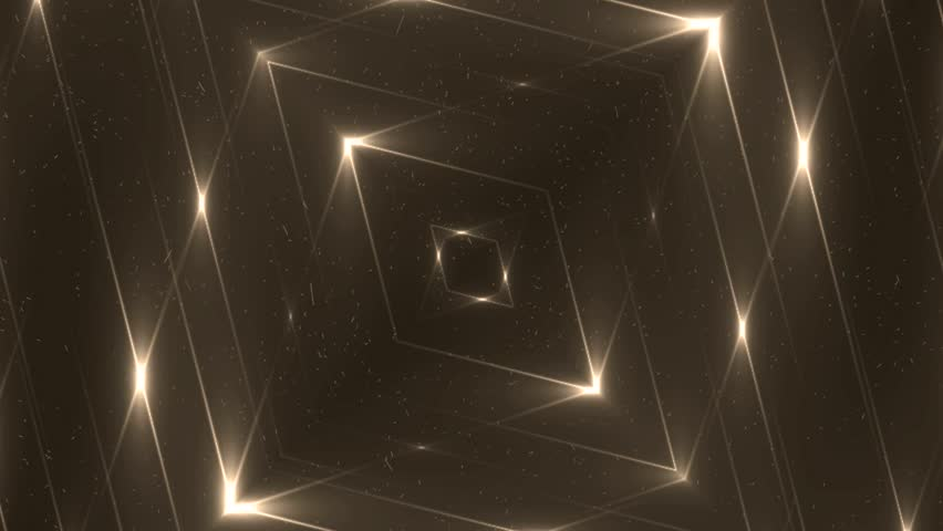 Fractal gold kaleidoscopic background. Background motion with fractal design. Disco spectrum lights concert spot bulb. VJ Seamless loop