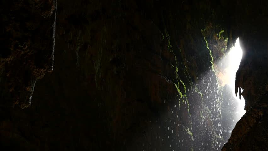 Indoor waterfall cave ponytail Natural Park Monasterio de Piedra, Zaragoza, Aragon, Spain, in August 2015. | Shutterstock HD Video #11311517