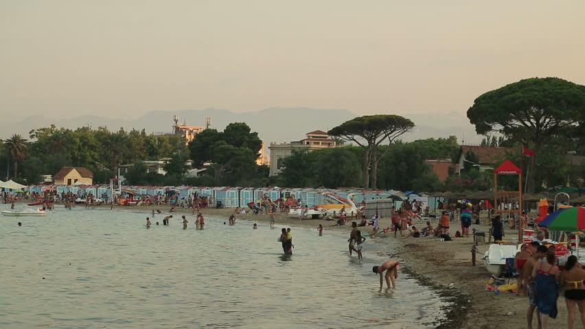 Mondello beach Pier in Palermo Sicily Italy July 2015 Palermo Sicily, Italy - HD stock video clip