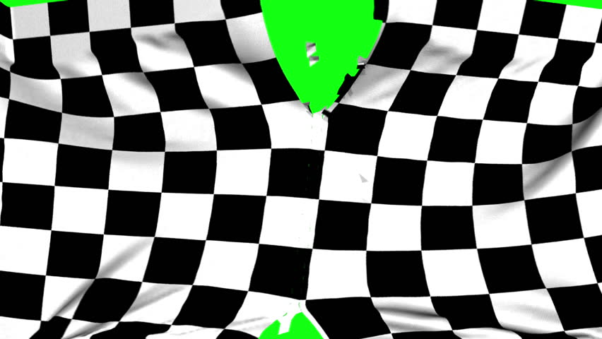 Chequered flag material ripped apart transition with green screen and alpha